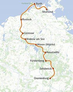 Radweg Mecklenburgische Seenplatte Karte.Radweg Berlin Kopenhagen Und Ostseeküstenradweg Bis Stralsund